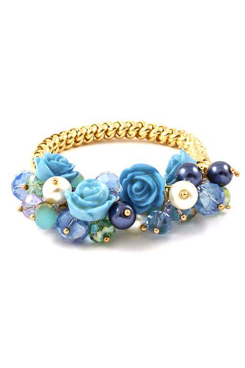 Blue Rose Crystal Cluster Bracelet | Emma Stine Jewelry Bracelets