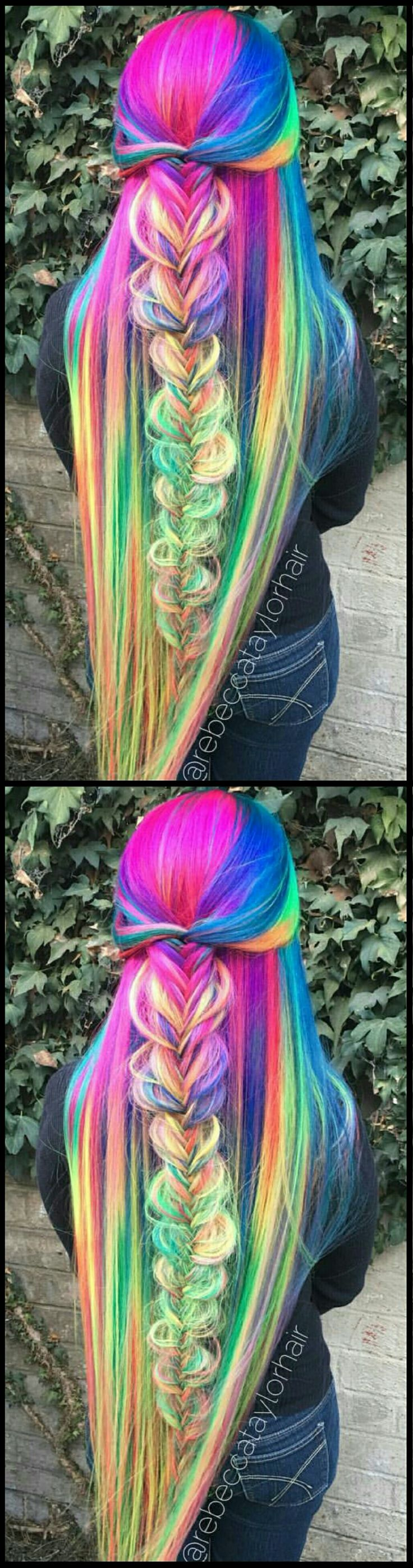 Braided rainbow dyed hair color inspiration @rebeccataylorhair