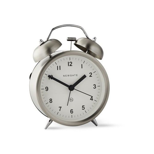 Williams-Sonoma Newgate Charlie Bell Alarm Clock ($24) ❤ liked on Polyvore featuring home, home decor, clocks, battery powered alarm clock, battery powered clock, alarm-clock, battery operated clock and british home decor