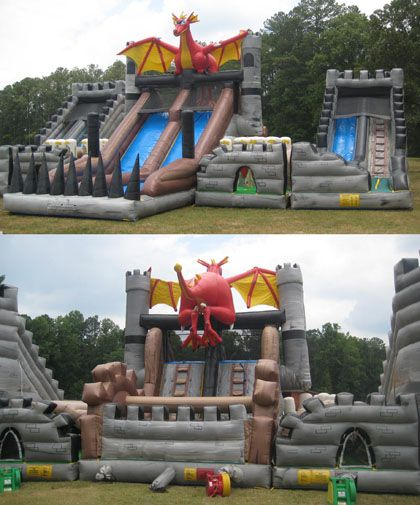 125' Dragon's Quest Inflatable Obstacle Course. Dual Lane Slide in the Middle & a Single Lane Slide on Each Side.