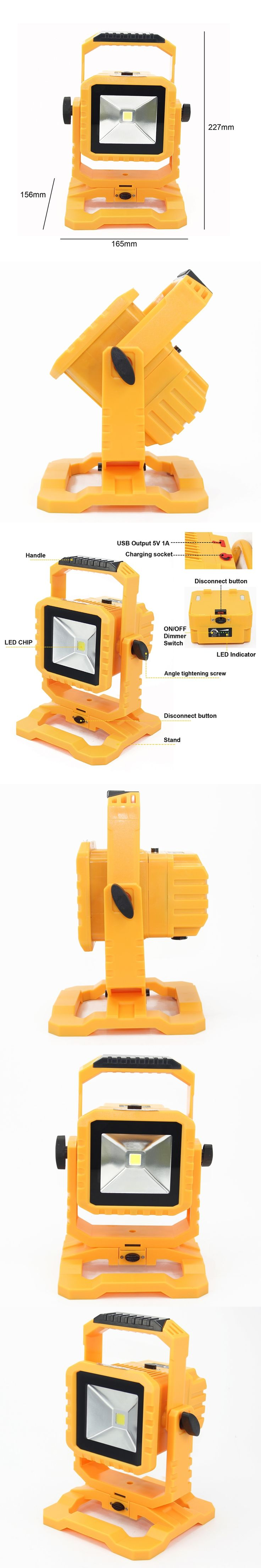 2pcs/lot IP65 LED Flood Light 10W led outdoor flood light rechargeable with detachable battery and dimmable switch free shipping