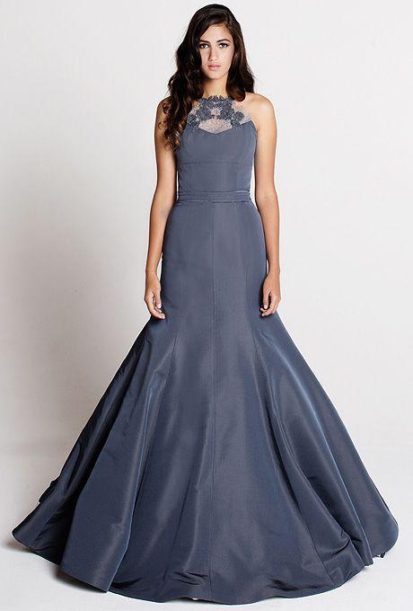 "Brides.com: . ""Edith"" sleeveless silk faille mermaid wedding dress with an embroidered lace high-neckline and halter straps, Tara LaTour"