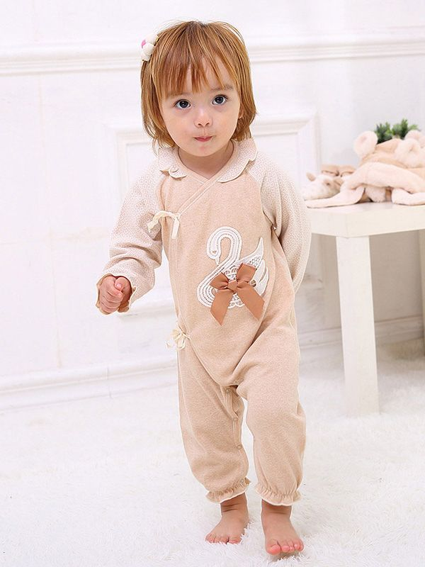 100% Naturally Colored Organic Cotton Spring & Autumn Baby Girl One-Pieces Newborn Clothes Long Sleeve Soft Romper, Height: 52, 59, 66, 73 cm