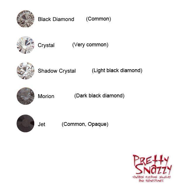 Swarovski colors Crystal (clear), shadow crystal, black diamond, morion, and jet.