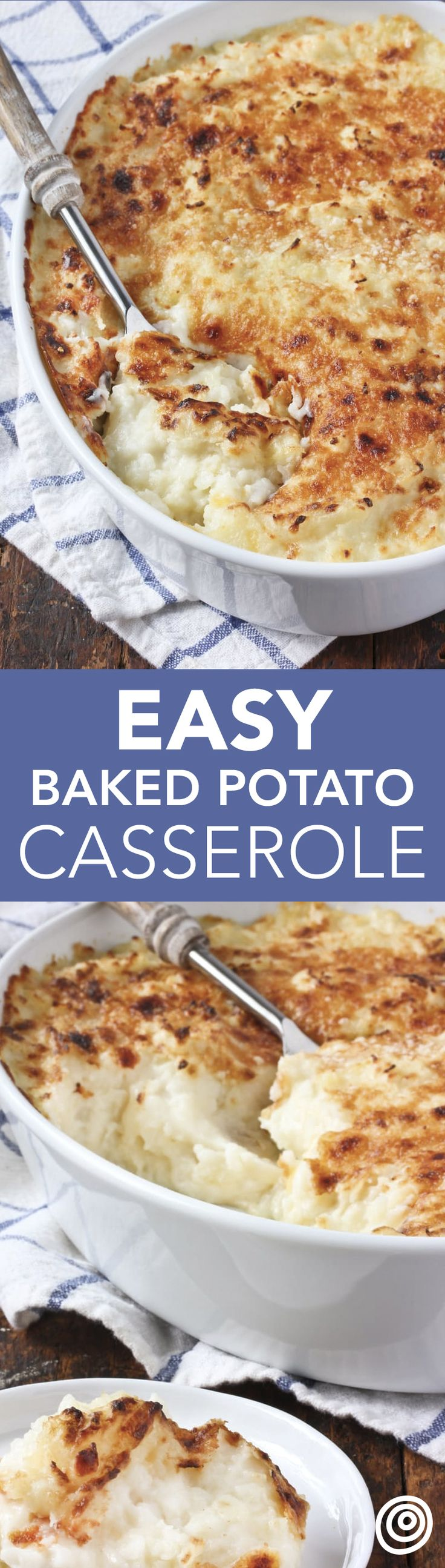 Baked Potato Casserole Recipe. This classic comfort food side dish is also known as smashed potato casserole or sour cream potatoes. No matter what you call it, it's INCREDIBLE and absolutely DELICIOUS. This oven baked treat would be excellent to add to a list of unique ideas for your next Thanksgiving or Christmas side dish. You'll need potatoes, sour cream (or greek yogurt), milk, sharp cheddar cheese, shallots, and parmesan cheese.
