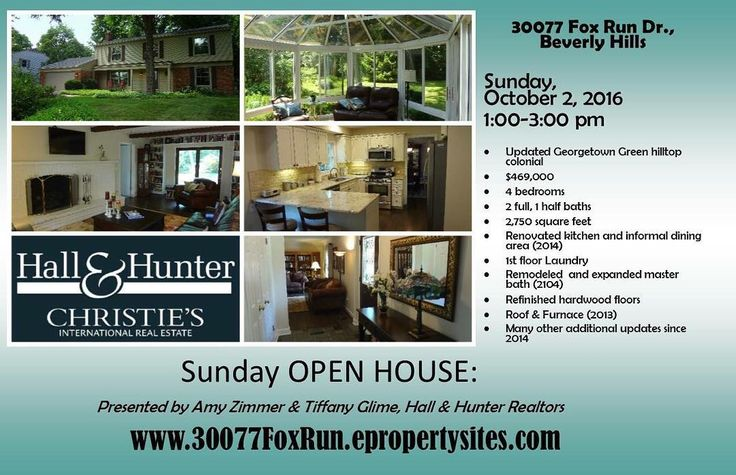 Sunday open house! Zimmer|Glime Real Estate is hosting an open house today (Sunday Oct.2) from 1:00-3:00 pm at 30077 Fox Run Drive Beverly Hills. Stop on by check out this wonderful updated and renovated Georgetown area hilltop colonial!  http://ift.tt/2boMcw9 #listedbyzimmerglime #zimmerglimerealestate #beverlyhillshome #hallandhunter #georgetownneighborhood #sundayopenhouse #christiesinternationalrealestate