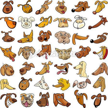 Cartoon illustration av olika roliga hundar huvuden enorm samling — Stock Vektor © izakowski #12455465