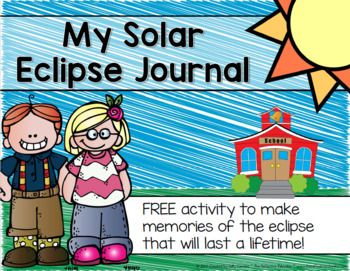 My Solar Eclipse Journal is a FREE resource teachers can use with their students on the day of the Great American Solar Eclipse - August 21, 2017. Copy or print the 6 journal pages double-sided. Fold on the dashed line and staple. These journals will make a great project you can easily do with your