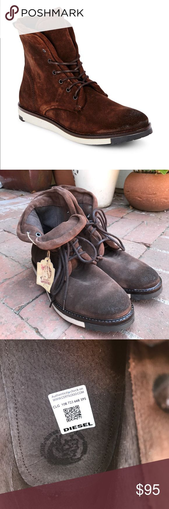 Men's Diesel boots NWT soft dark brown suede boots, perfect condition Diesel Shoes Chukka Boots