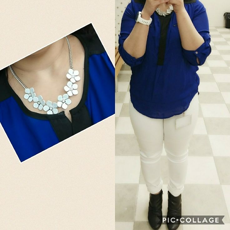 Cobalt blue top with white jeans and floral necklace #outfitoftheday