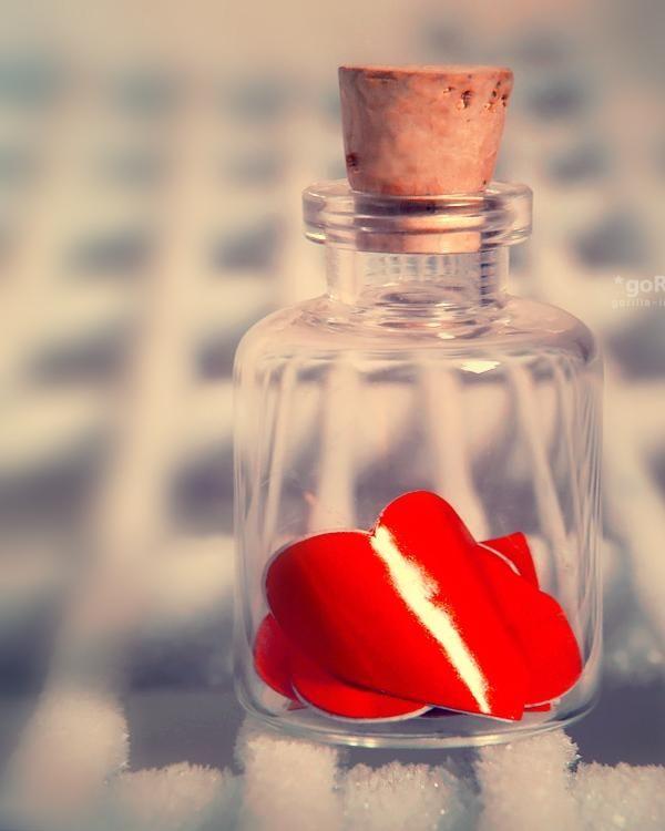 Broken Hearts Captured In Jar Tender broken heart petal closed in a bottle, but can it still stop it from reaching its true love?