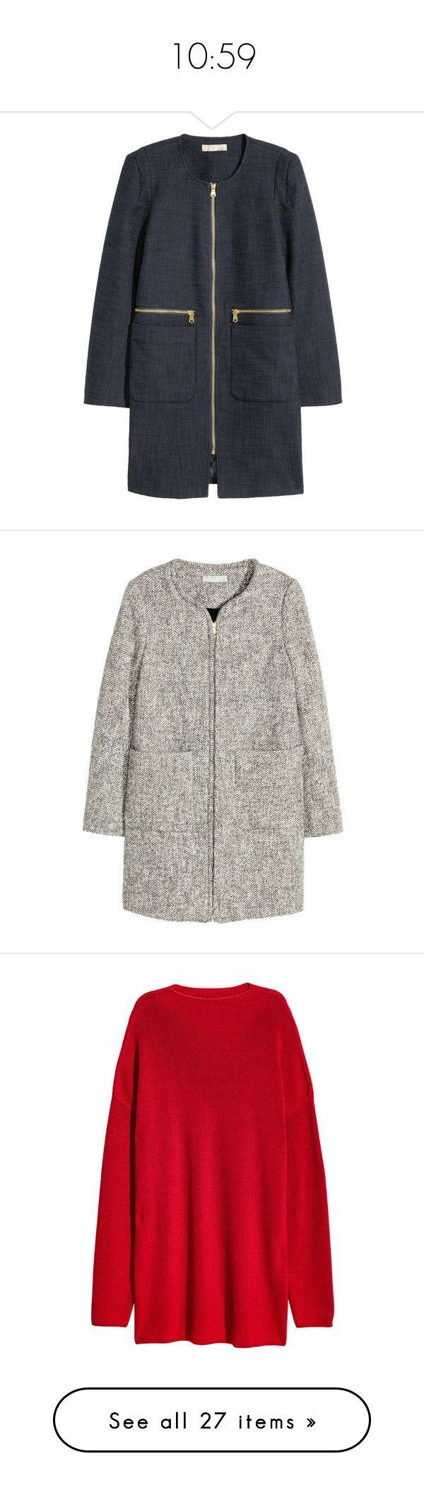 """10:59"" by adhene ❤ liked on Polyvore featuring outerwear, coats, short coat, zip coat, fur-lined coats, h&m coats, grey, grey coat, herringbone coats and gray coat"