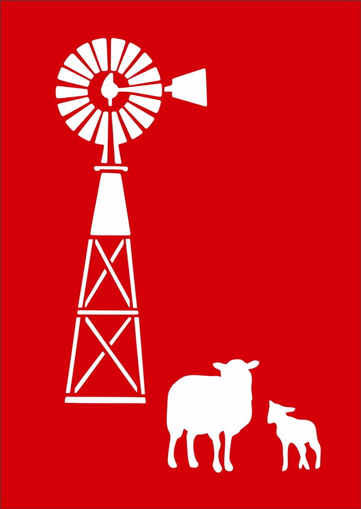 CODE: AW003. NAME:  Traditional Windpump with 2 sheep. SIZE: A4 & A5. Available from RD Designs. Contact: renchea@rddesigns.co.za.