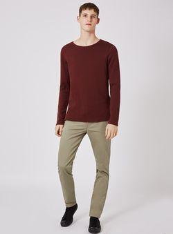 Khaki Slim Fit Textured Stretch Chinos