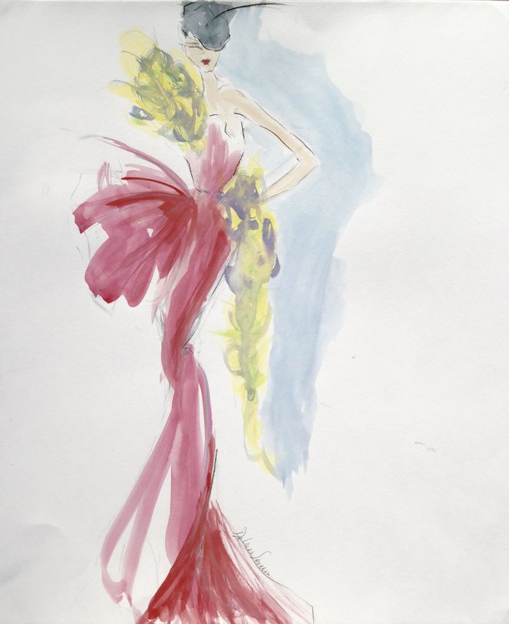 Fashion sketch, red dress, couture, SERECIN