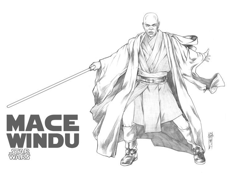 Mace Windu Coloring Pages With Images Star Wars Images Star