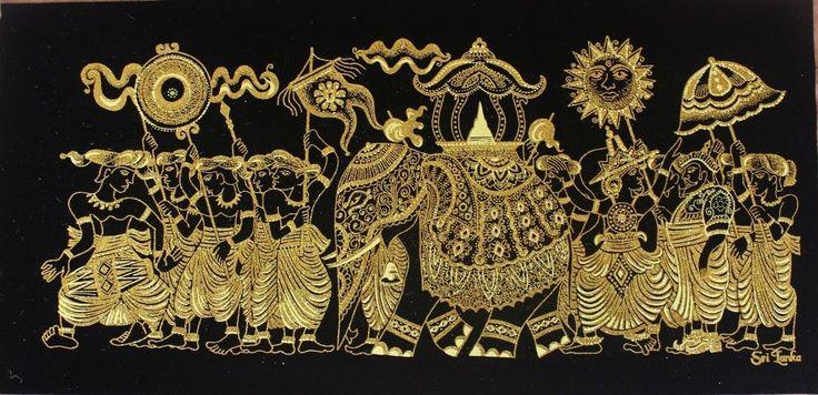 Wall Decor Sri Lanka Perahera Velvet Fabric Glitter Art Work Wall Hanging