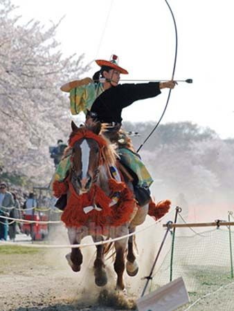 Yabusame festival in Japan, honoring an 800-year-old ritual of mounted archery.