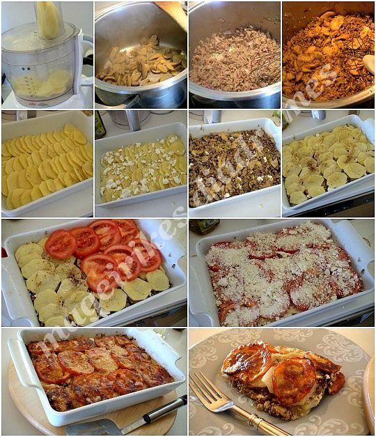 Πατάτες με κιμά και μανιτάρια στο φούρνο