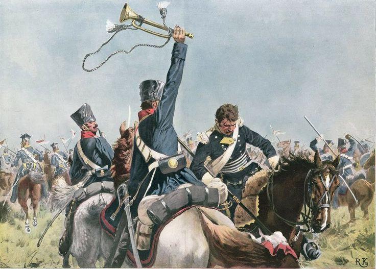 Сражение при Мёкерне 5 апреля 1813 г.  Трубач прусского кавалерийского полка майора Платена своим горном сбивает с коня французского улана Рихард КНЁТЕЛЬ