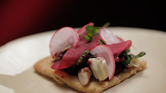 Beetroot with Goats Cheese Mousse and Herb Biscuit