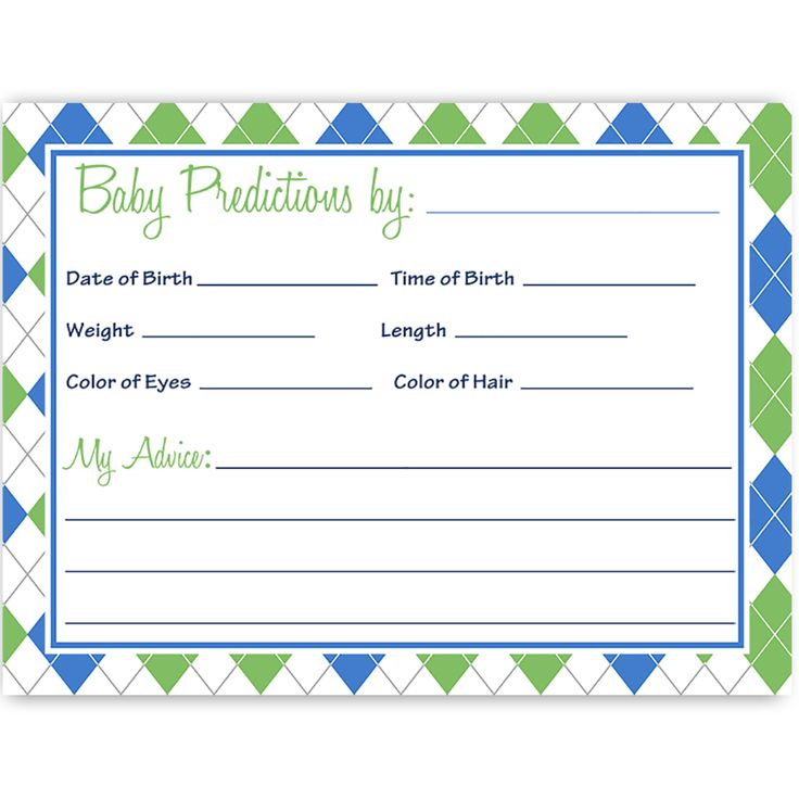Little Putter Predictions Card. Find matching baby shower invites, invitations, stationary, cards, Bingo and party ideas, recipe cards, thank you notes, gender identification games and more for showers and parties at www.theinvitelady.com.