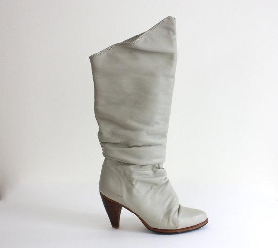 grey. 80's. small chunky heel. want.