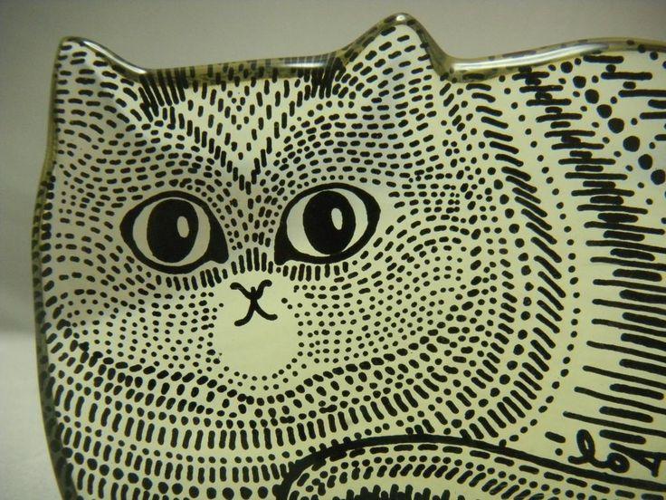 Vintage Abraham Palatnik Lucite Cat Large Tabby Mid Century Excellent Condition