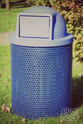 Model CN-R/RU-32 trash or recycling receptacle, 32 gallon capacity, perforated steel with thermo plastic finish coat (shown in Blue), inside liner is optional. Shown with optional Model CN-SDR/U-24 plastic dome lid for trash. Many other colors and lid options are available.