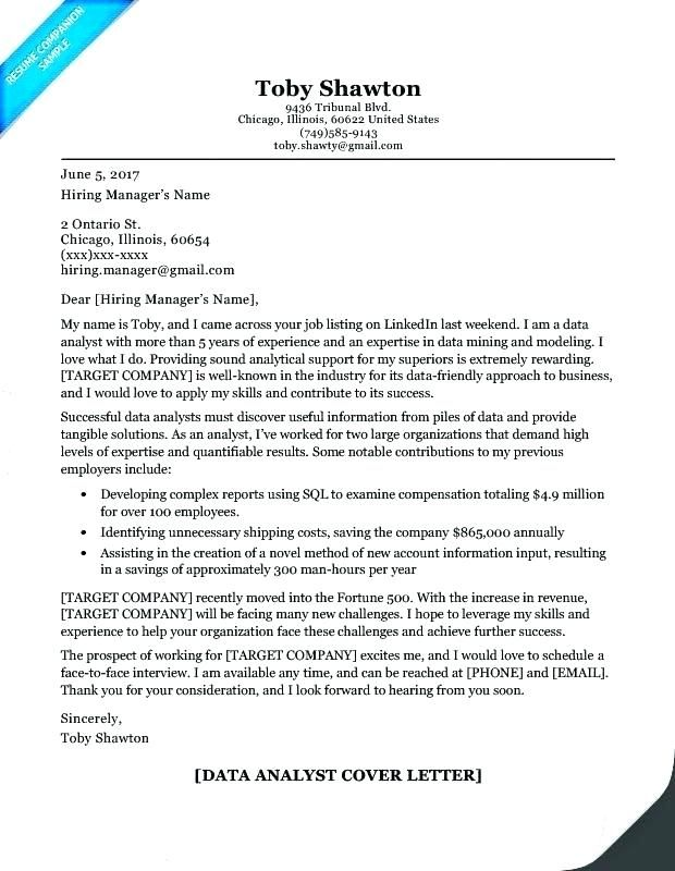 Cover Letter Example Data Analyst - Data Analyst Cover Letter Sample