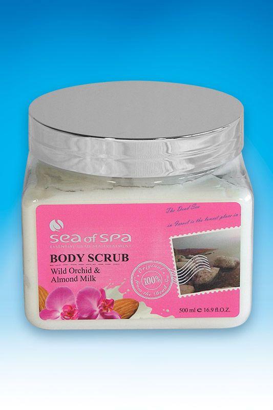 Peeling do ciała. Orchidea i Migdał. 500 ml. Unikalny peeling do ciała stworzony na bazie olejków roślinnych i wosku, wzbogacony naturalnymi minerałami z Morza Martwego, zawiera czystą sól morską i witaminy. Stymuluje krążenie krwi i skutecznie usuwa martwe komórki naskórka oraz wszelkie zanieczyszczenia. Wspomaga likwidację tkanki tłuszczowej.