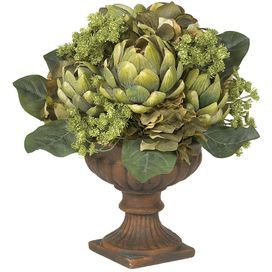 Silk Artichoke Centerpiece Flower with Pot: