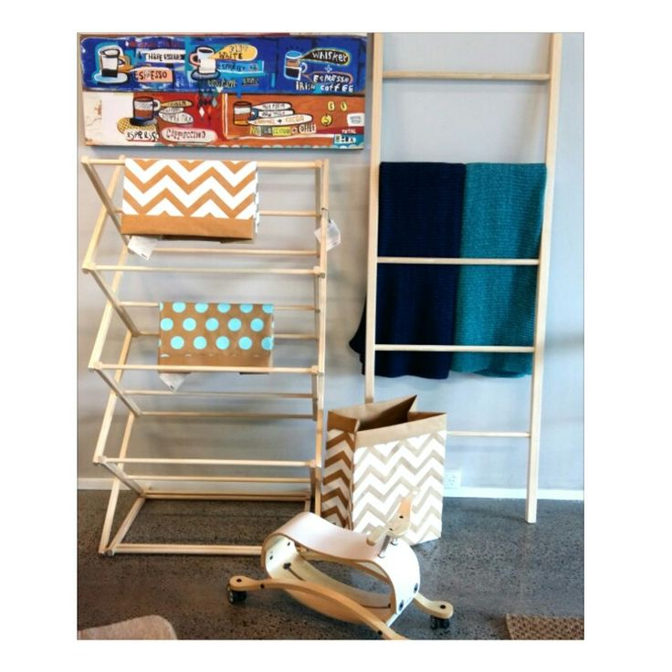 Tower dryer and leaning ladder On display in Yoyo Auckland NZ Made by Black Sand Furniture