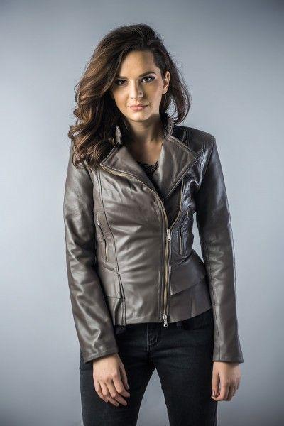 Leather jachet for women grey 2031 (1)