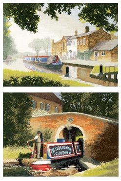 Canal Barge Cross Stitch - Set of 2 - John Clayton