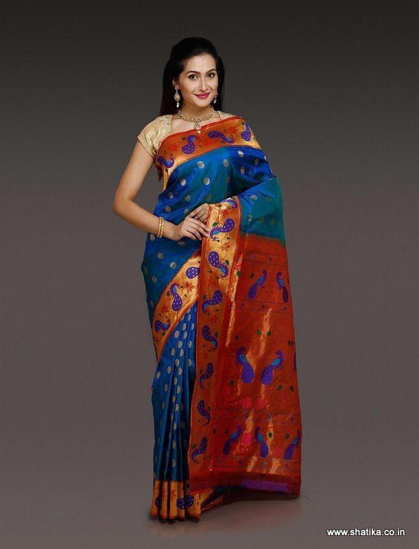 This Amaravathy Royal Blue Paithani Silk Saree is a real royal drape for the women wearing it. The royal peacock across the border and pallu added along with zari work on the silken body gives an imperial touch to this paithani silk hand-woven masterpiece from Maharashtra.