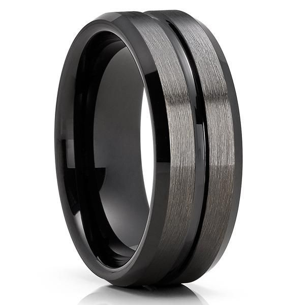 Pin By Jacquie Bender On Clean Casting Jewelry Black Tungsten Rings Tungsten Mens Rings Black Gunmetal Tungsten Ring