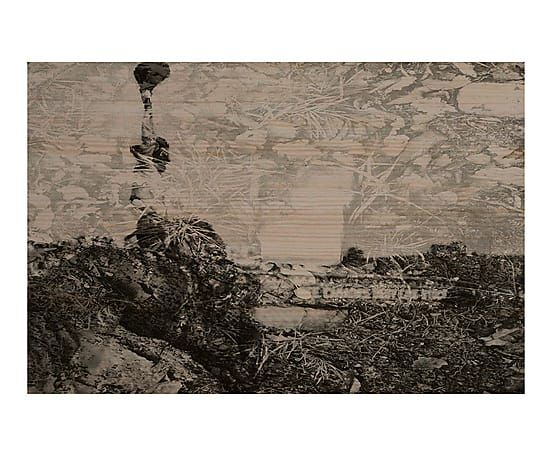 Cabecero impreso en madera de pino maciza Chad - 60x105 cm