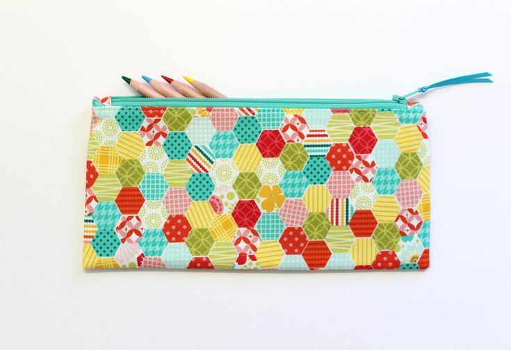 Hexagon Pencil Case, Small Zipper Pouch, Small Cosmetic Bag, Cute School Supplies, Gifts Under 20 by LittleFoxSewsLots on Etsy