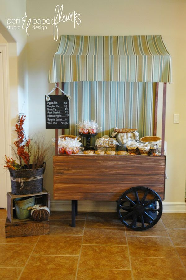 Adorable peddler's cart.  I can not express how much I love this!!  Change up the fabric on the top and it's a lemonade stand.  Add buckets of…