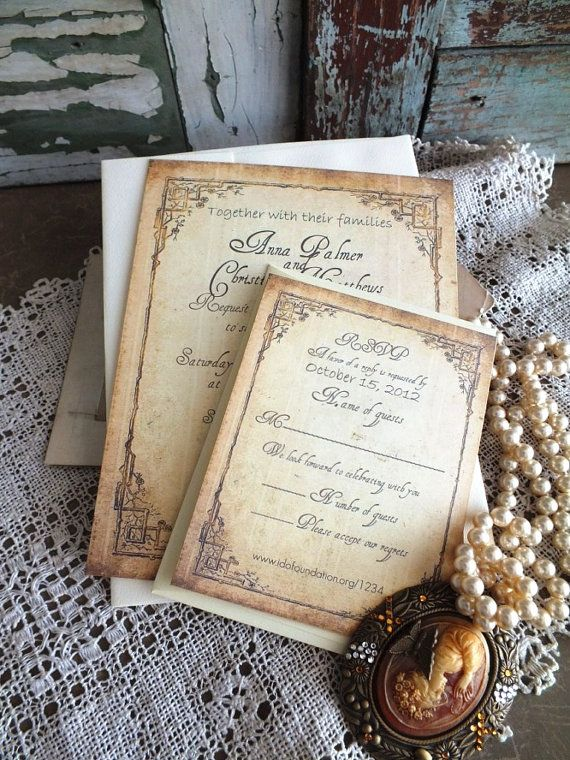 Vintage Wedding Invitation Suite Handmade by by AVintageObsession, $85.00
