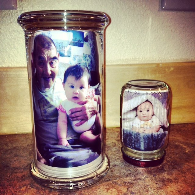 Using Diamond Candles jars to display beautiful family photos is a wonderful idea!