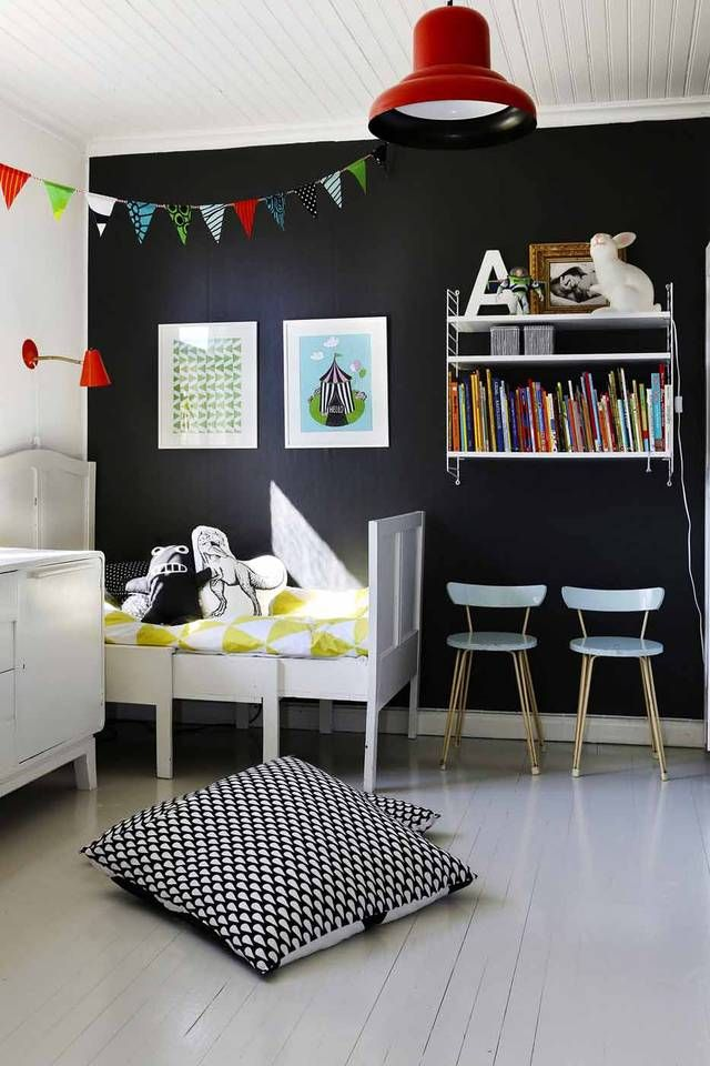 black wall in a kid's room:
