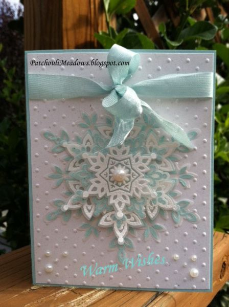 Festive Flurry All SU Supplies:  Festive Flurry Bundle, Naturals White & Pool Party CS,  Pool Party Seam Binding Ribbon, White & Pool Party Embossing Powder,  Vellum, Basic Pearls, Perfect Polka Dots EF, Dimensionals, Fav Adhesive.  Inside Greeting: White Embossing Powder