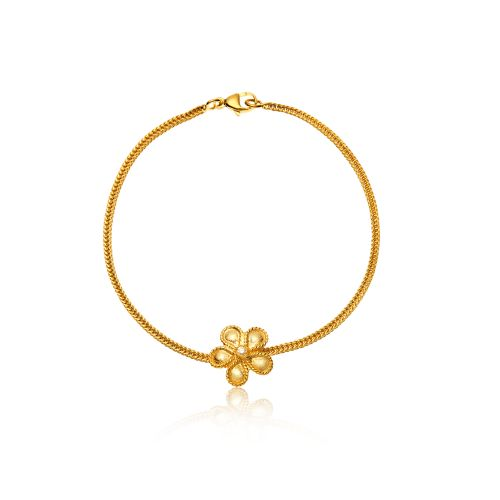 Daisy bracelet in 18KT yellow gold with diamond.