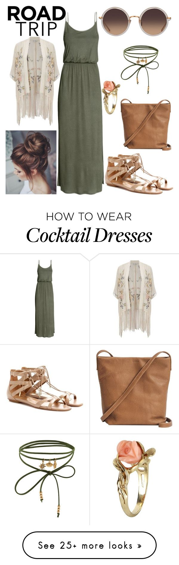 """""""Road Trip Outfit #2"""" by cmhanna93 on Polyvore featuring Miss Selfridge, Aquazzura, BAGGU, Linda Farrow, Vintage and Accessorize"""