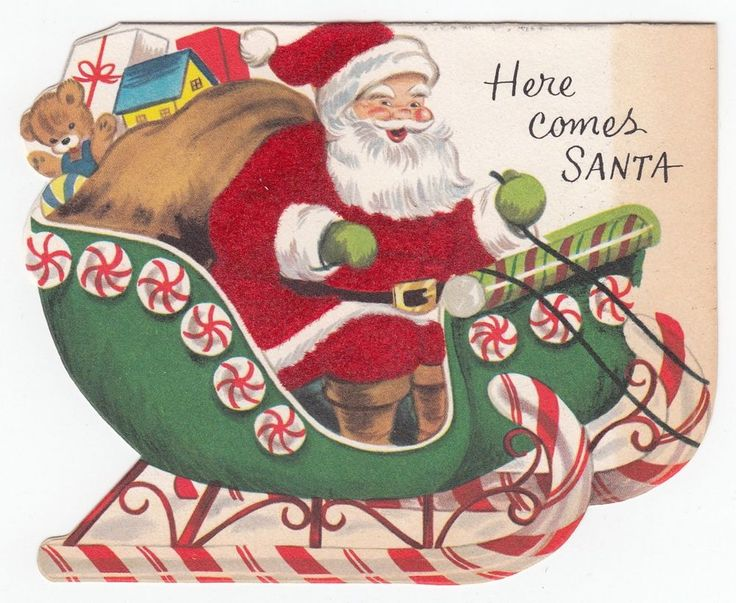 vintage greeting card christmas die cut santa claus sleigh peppermint as is - Santa Claus Christmas Cards