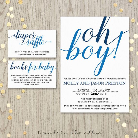 Oh Boy Baby Shower Invitation Card Couples Shower Invite Blue Baby Boy  Shower Printable Invitation Personalized