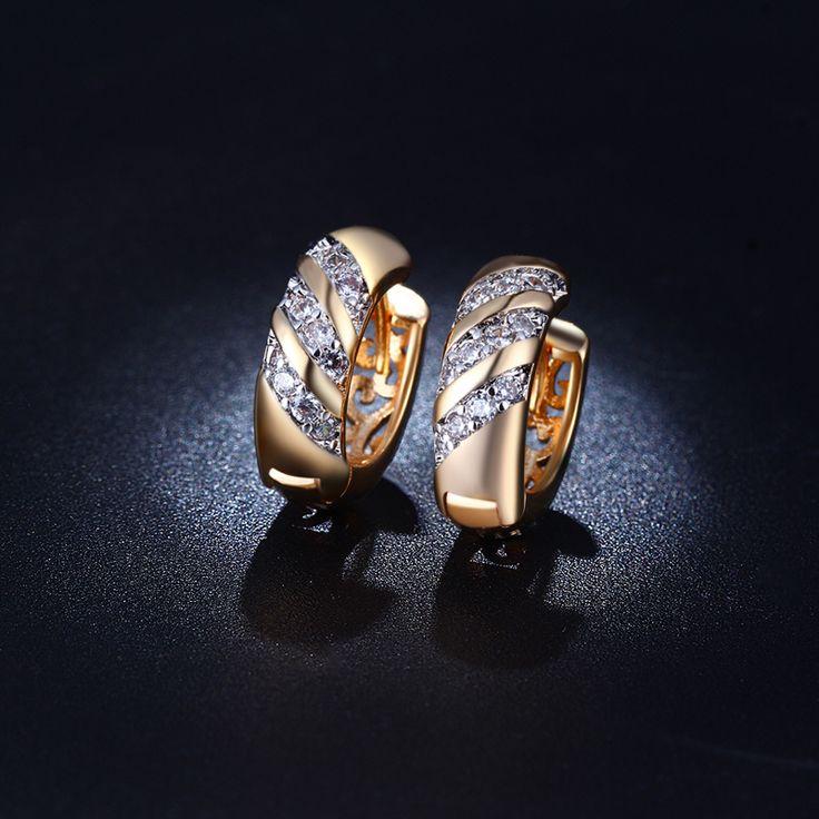 Hot Sale Vintage Brincos De Noiva Gold 585 Plated Hoop Earrings For Women CZ Diamond Jewelry Boucle d'Oreille Aretes Aros QE025