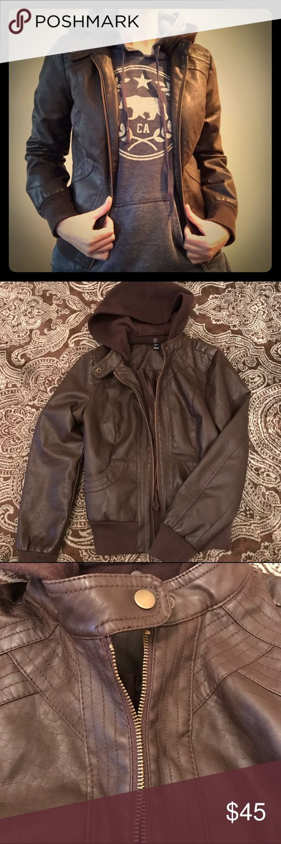 Brown Hooded Bomber Jacket Adorable brown bomber jacket with removable hood, gold zipper, neck collar button snap and lined interior. Never worn. WINDSOR Jackets & Coats